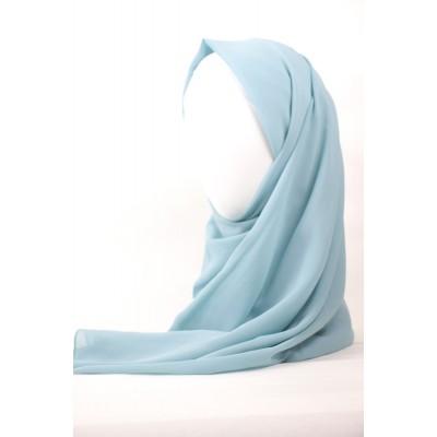 Hijab chiffon bleu ciel