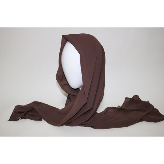 hijab chiffon marron