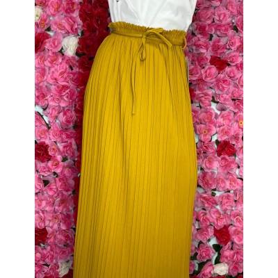 jupe-plisse-jaune